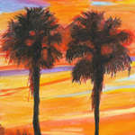 Palms at sunset over lake Dora